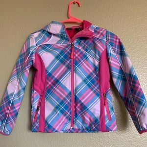Snozu pink/ blue patterned jacket girls 7/8